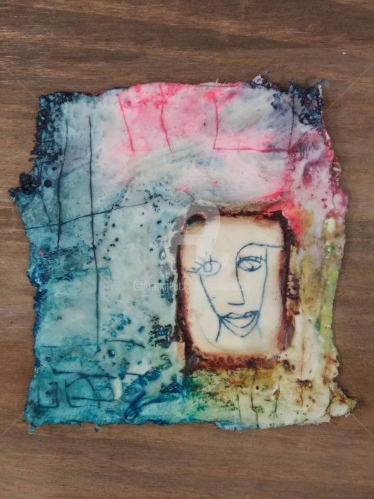 Territoire symbole - visage - Mixed Media ©2018 by Anne Maury -            visage, mixedmedia, gravure, techniquesmixtes, platre, cire, encaustic