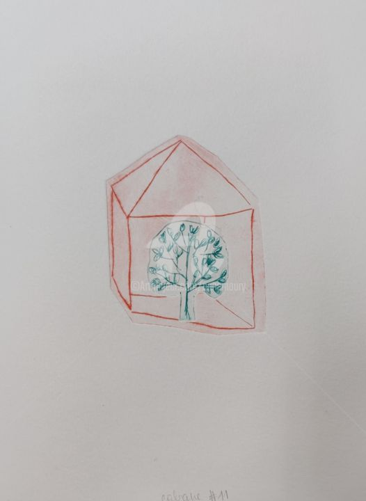 Cabane #11 arbre - Printmaking,  9.5x7.1x0.4 in, ©2020 by Anne Maury -                                                                                                                                                                                                                                                                                                                                                                                                                                  Tree, Home, Nature, cabane, arbre, vegetal, nature, maison, vert