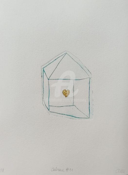 Cabane #11 coeur or - Printmaking,  9.5x7.1x0.4 in, ©2020 by Anne Maury -                                                                                                                                                                                                                                                                                              Home, coeur, heart, maison, cabane, love
