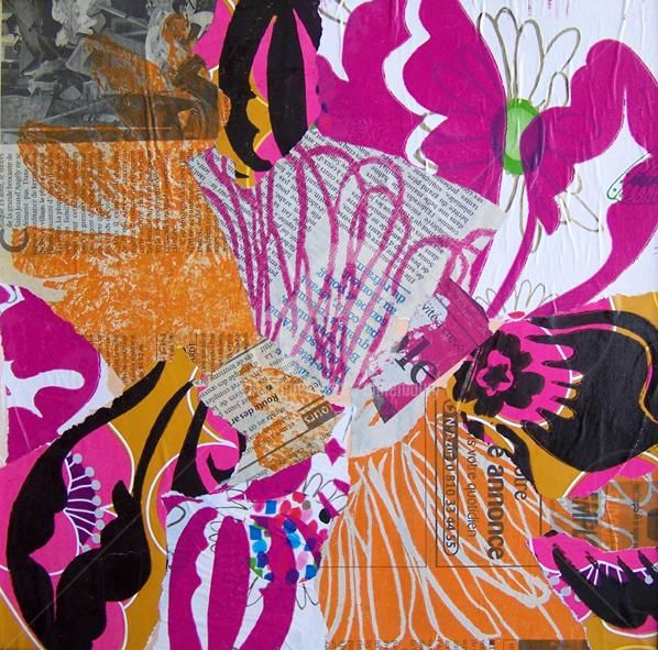 Collage 9 - Printmaking,  11.8x11.8 in, ©2009 by Anne Maury -