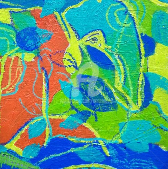 Fragment 16 - Painting,  4.3x4.3 in, ©2011 by Anne Maury -                                                                                                                          Expressionism, expressionism-591