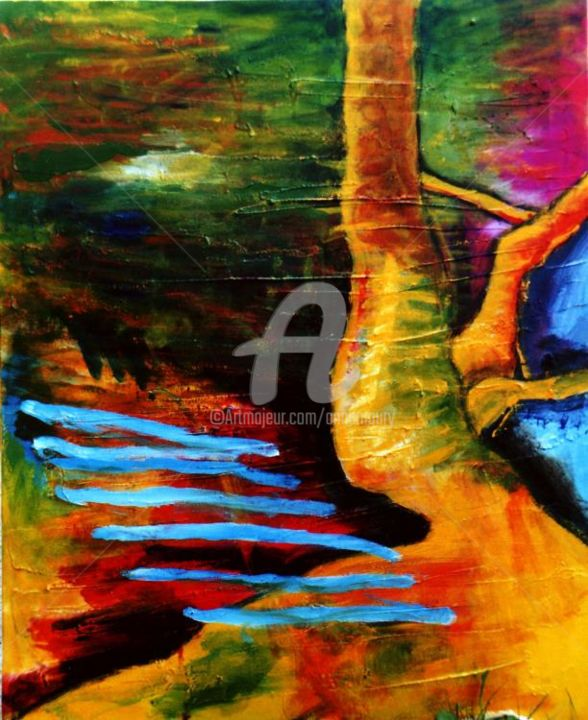 De terre et d'eau - Painting,  28.7x23.6 in, ©2006 by Anne Maury -                                                                                                                          Expressionism, expressionism-591