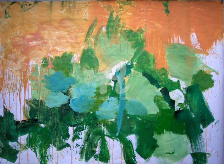 Herbes VIII - Painting,  39.4x51.2 in, ©2004 by Anne Maury -                                                                                                                          Expressionism, expressionism-591
