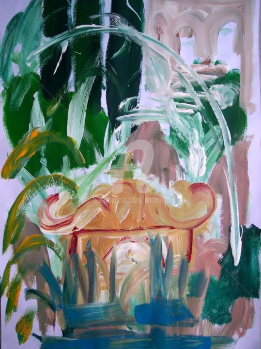 Villa Este IX - Painting,  39.4x27.6 in, ©2004 by Anne Maury -                                                                                                                          Expressionism, expressionism-591
