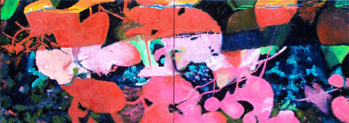 Les fleurs papillons - Painting,  19.7x55.1 in, ©2014 by Anne Maury -
