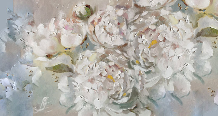 """Painting titled """"Large flowers paint…"""" by Annet Loginova, Original Art, Oil Mounted on Stretcher frame"""