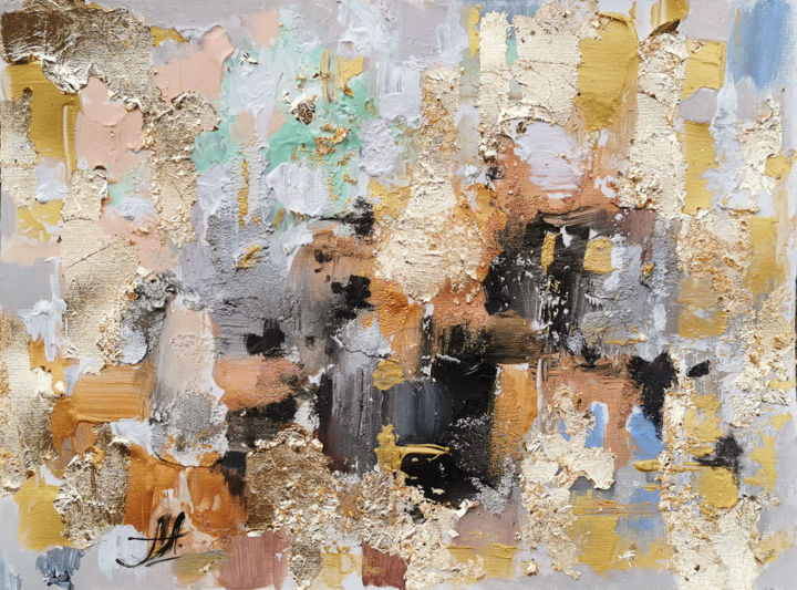 """Painting titled """"Gold Leaf painting,…"""" by Annet Loginova, Original Art, Acrylic"""