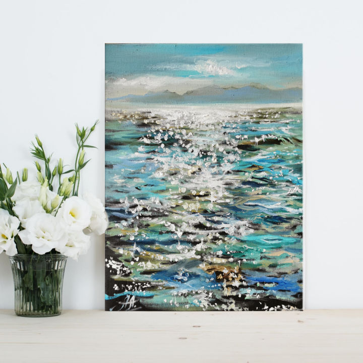 """Painting titled """"Sea oil painting, S…"""" by Annet Loginova, Original Art, Oil Mounted on Stretcher frame"""
