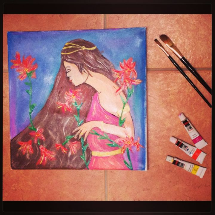 """Painting titled """"Flora"""" by Annie Borbo, Original Art,"""