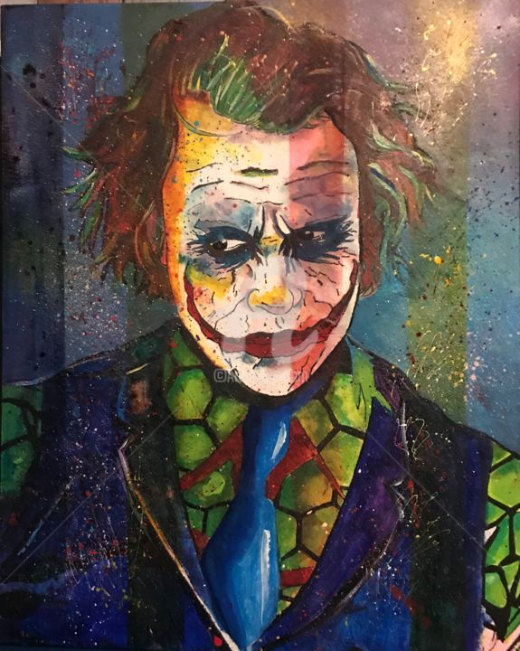 Joker - Painting,  19.7x15.8 in, ©2019 by Annie Predal -                                                                                                                                                                          Figurative, figurative-594, Cinema