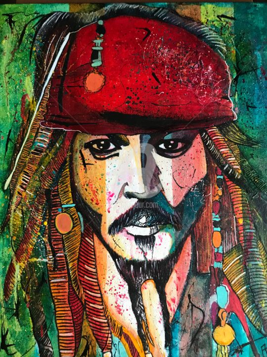 Le grand Jack Sparrow - Painting,  19.7x15.8 in, ©2019 by Annie Predal -                                                                                                                          Figurative, figurative-594
