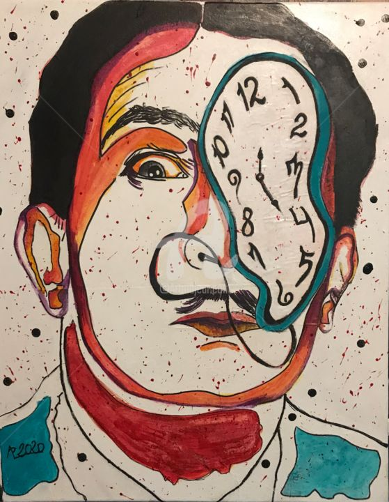 Dali Time - Painting,  19.7x15.8 in, ©2020 by Annie Predal -                                                                                                                                                                          Street Art, street-art-624, Celebrity