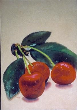 CERISES - Painting ©2006 by Annie Dite Ana Maillet -