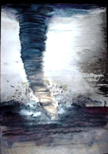 l 'ouragan arrive - Painting,  65x45 cm ©2008 by Abdelali Announi -