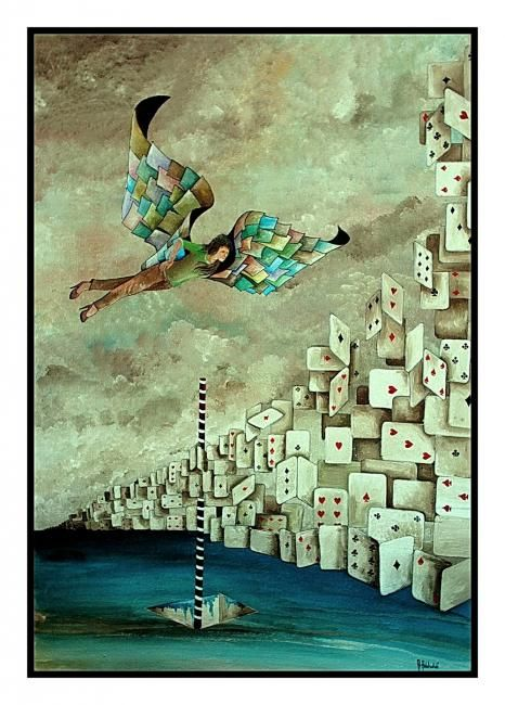 Vol au dessus du reel - Painting,  92x62 cm ©2011 by Abdelali Announi -                        Surrealism