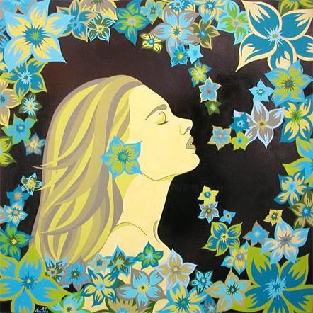 Quiétude printanière - Peinture,  31,5x31,5 in, ©2006 par Ann'Soco -                                                                                                                                                                                                                                                                                                                                                                                                                                                                                                                                                                                                                                      Figurative, figurative-594, artwork_cat.Love/Romance, artwork_cat.Colors, Femmes, Fleur, annsoco, artiste, portrait de femme aux fleurs, exotique, saison, printemps, oeuvre dart unique