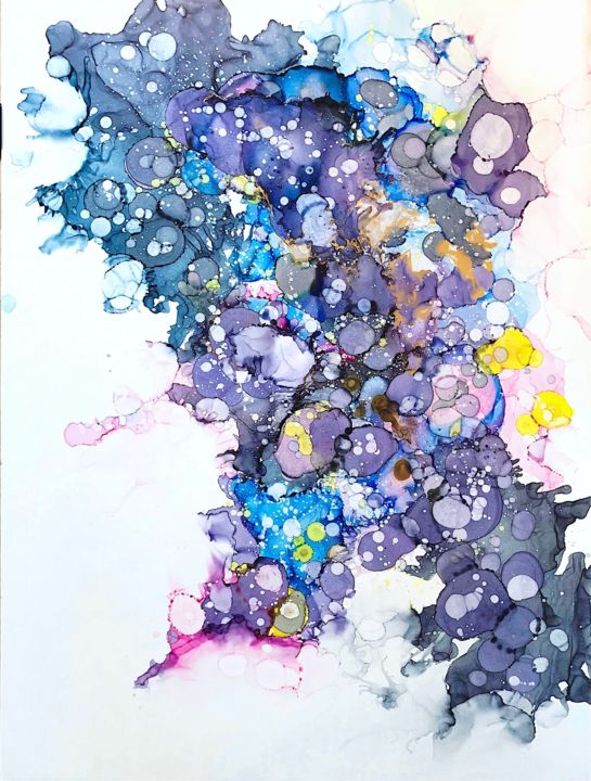 """Painting titled """"Cosmic paintink Lar…"""" by Insomnia Art, Original Art, Watercolor"""