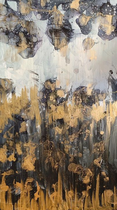 """Painting titled """"Black and Gold inte…"""" by Insomnia Art, Original Art, Watercolor"""