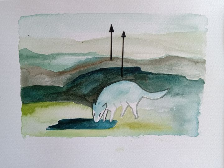 """Painting titled """"Loup Blanc"""" by Anna Vliet, Original Art, Watercolor"""