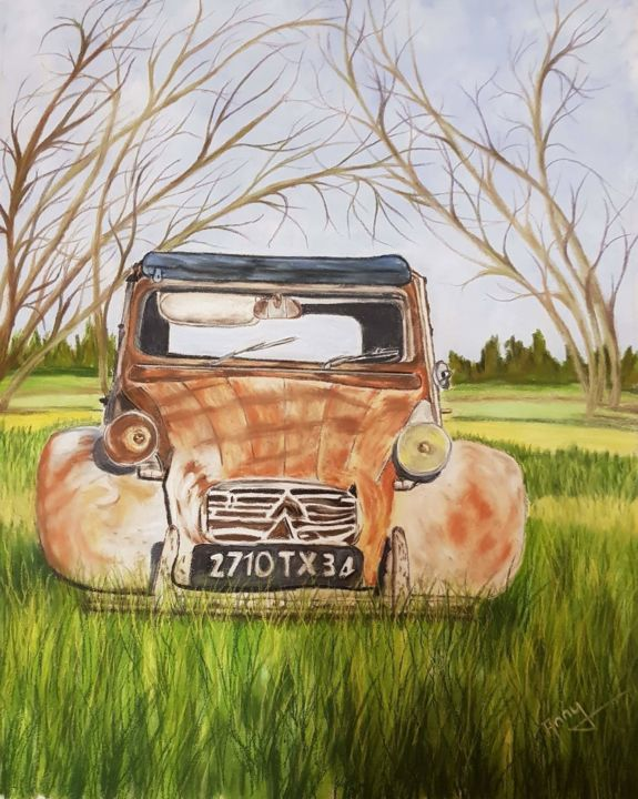 fb-img-1547735539956.jpg - Painting,  24x30x5 cm ©2018 by anny burtscher-beaudoin -                                                        Realism, Paper, Automobile