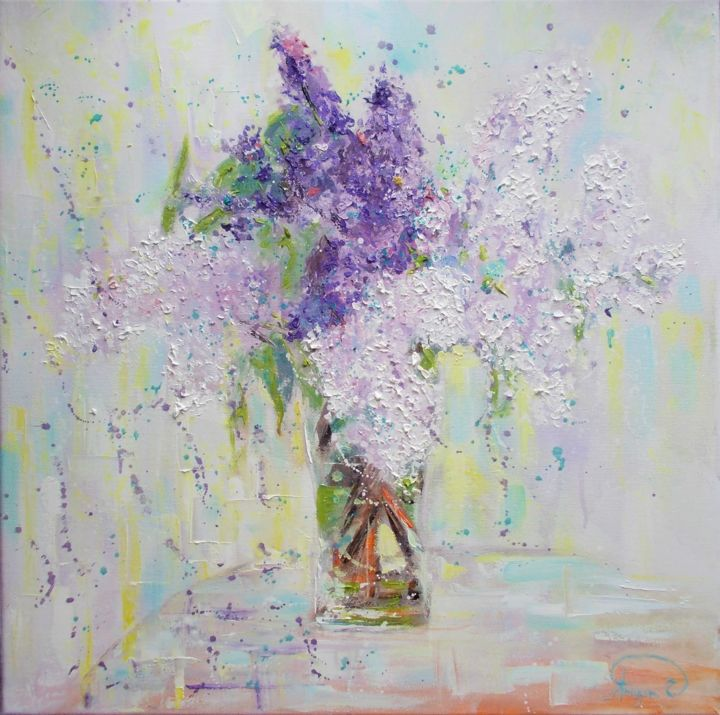 Lilacs - Painting,  23.6x23.6x0.8 in, ©2018 by Antigoni Tziora -                                                                                                                                                                                                                                                                                                                                                                                                          Abstract, abstract-570, Flower, Still life, lilacs, lilac, purple floral, white flowers