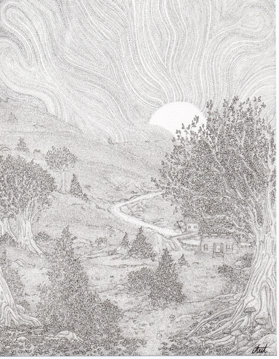 """Drawing titled """"Start of the journey"""" by Antoine Aizier, Original Art, Ink"""