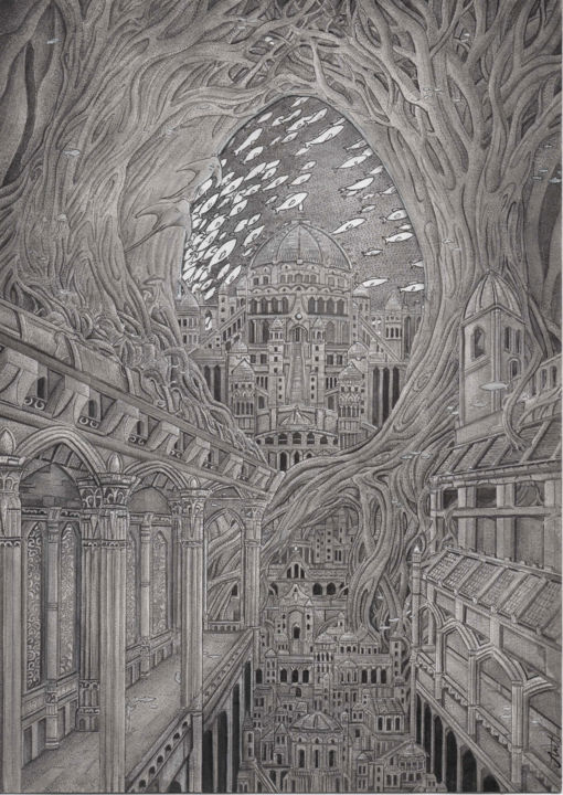 """Drawing titled """"The Submerged city"""" by Antoine Aizier, Original Art, Watercolor"""