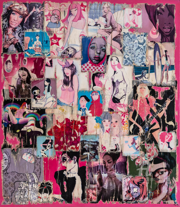 COLLAGE 3 - Collages,  31.5x27.6x0.8 in, ©2009 by Maume Gallery -                                                                                                                                                                                                                                                                                                                                                                                      Women, Heroic-Fantasy, Fashion, femme, deco, rose, couleur, humour
