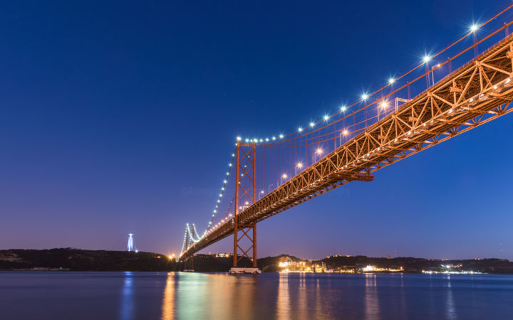 A bridge by night - Lisbon - lmtd edition 30 - Photography,  15.8x23.6x0.1 in, ©2017 by Antoine Barthelemy -                                                                                                                                                                                                                                                                                                                                                                                                                                                                                                                                                                      Architecture, Cities, Cityscape, Travel, bridge, lisbon, portugal, europe, night photography, architecture, city light, cityscape