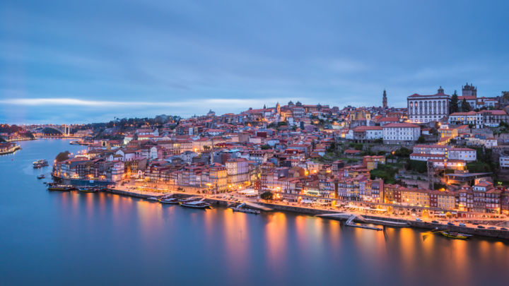 Porto Ribeira by night - lmtd edition 30 - Photography, ©2017 by Antoine Barthelemy -                                                                                                                                                                                                                                                                                                                                                                                                                                  Cities, Cityscape, Travel, travel, night photography, portugal, porto, europe, city lights