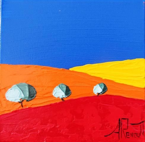 New Provence 10 - Painting,  20x20 cm ©2012 by Antoine Renault -            Tableau de Provence par Antoine RENAULT