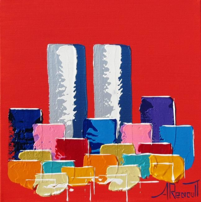 Painting,  30 x 30 cm ©2012 by Antoine Renault -  Painting, Tableau de tours contemporaines par Antoine RENAULT