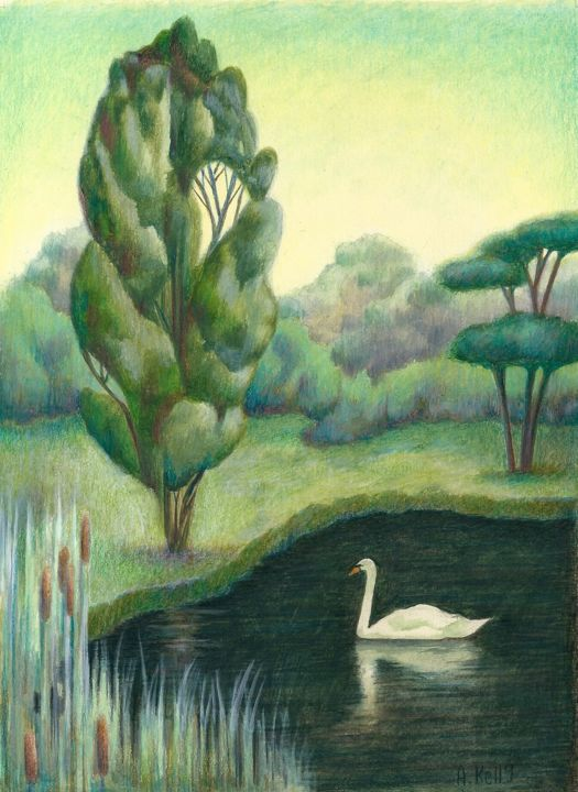 Lone Swan. - Drawing,  8.1x5.7x0.1 in ©2018 by Antoinette Kelly -                                                            Naive Art, Other, Animals, white swan, black lake, trees