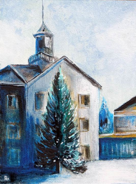 Pine tree at the old plant - Painting,  20x15x0.3 cm ©2019 by Anton Maliar -                                                    Figurative Art, Impressionism, Cityscape
