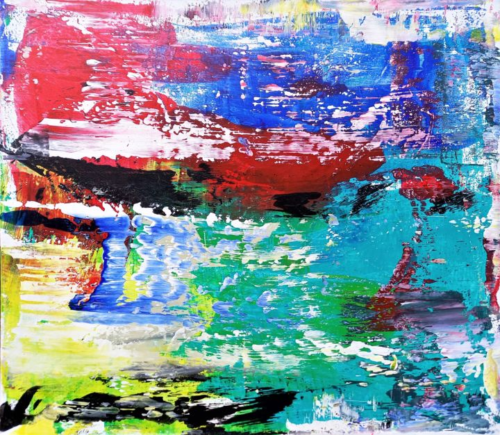 """Painting titled """"No Name_Abstract#1"""" by Anton Rakun, Original Art, Acrylic Mounted on Stretcher frame"""
