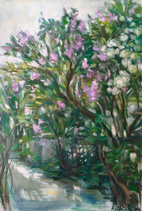 Lilac - Painting,  51.2x39.4 in, ©2019 by Antonia Rusu -                                                                                                                                                                                                                                                                                                                                                                                                                                                                                                                                                                                                                                                                                                                                                                                                                                                                  Expressionism, expressionism-591, Garden, garden, jardin, couleur, lilas, lilac, flowers, fleurs, nature, landscape, contemporary art, painting, peinture, paysage, beaux arts, fine arts
