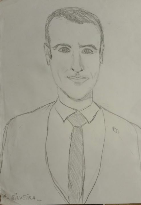 E. MACRON - Drawing,  40x30 cm ©2017 by Antoine Silveira -                                                        Documentary, Paper, Men