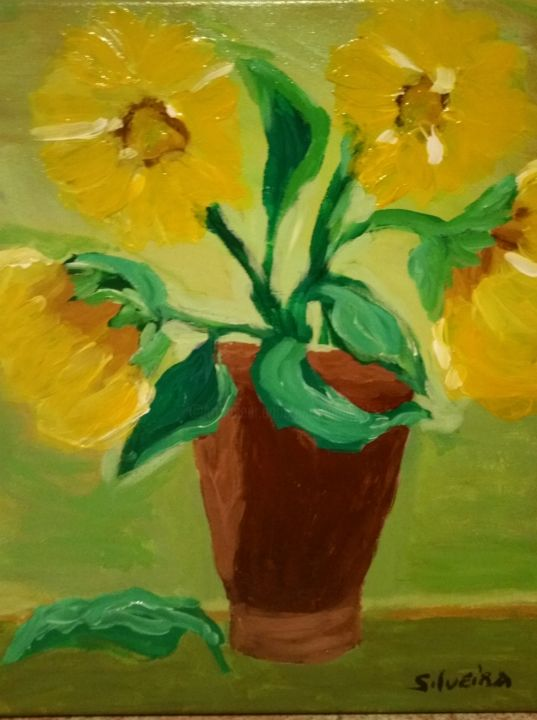 Les tournesols - Painting,  40x30 cm ©2017 by Antoine Silveira -