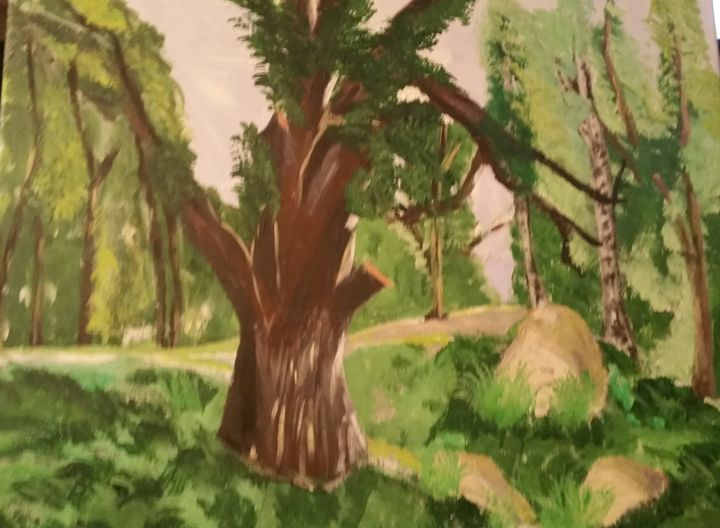 Forêt de Fontainebleau - Painting,  50x60 cm ©2017 by Antoine Silveira -                                        Contemporary painting, Tree