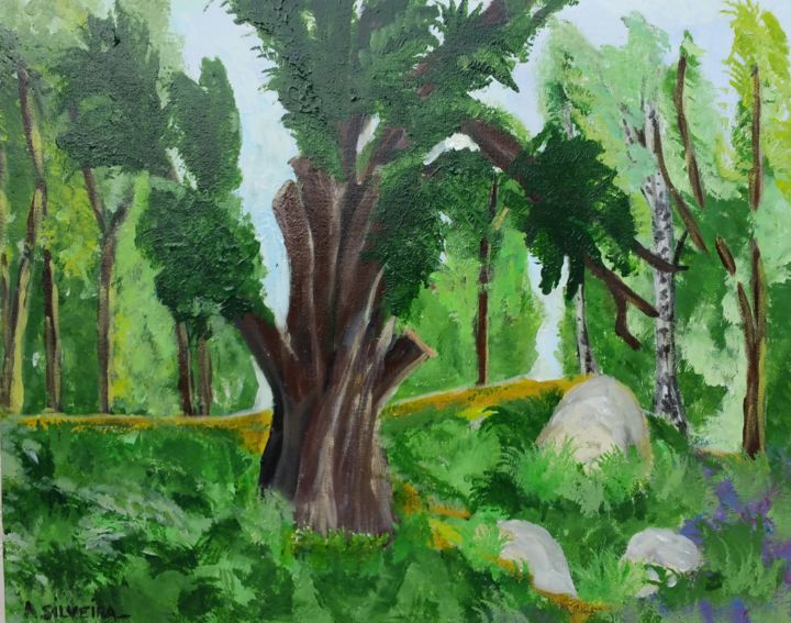 Forêt Fontainebleau bis - Painting,  50x60 cm ©2017 by Antoine Silveira -                                                        Contemporary painting, Canvas, Tree
