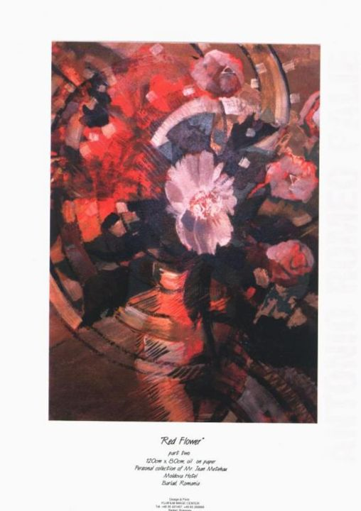 """Painting titled """"Red Flower"""" by Romeo, Original Art,"""