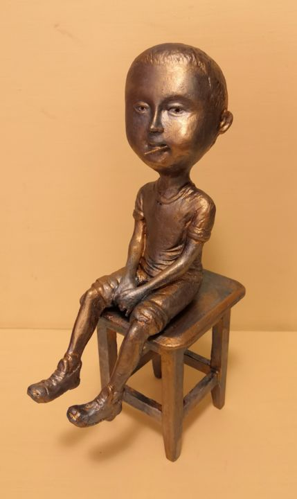 Чупа-чупс. - Sculpture,  11x5,9x5,1 in, ©2019 par Roman Antonov -                                                                                                                                                                                                                          Figurative, figurative-594, Enfants, чупа-чупс