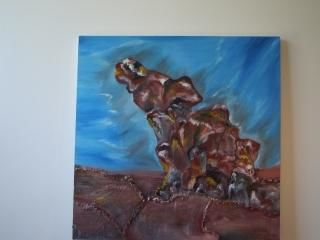 remarkable rock - Painting,  36x36 in, ©2005 by Saumya anuj -