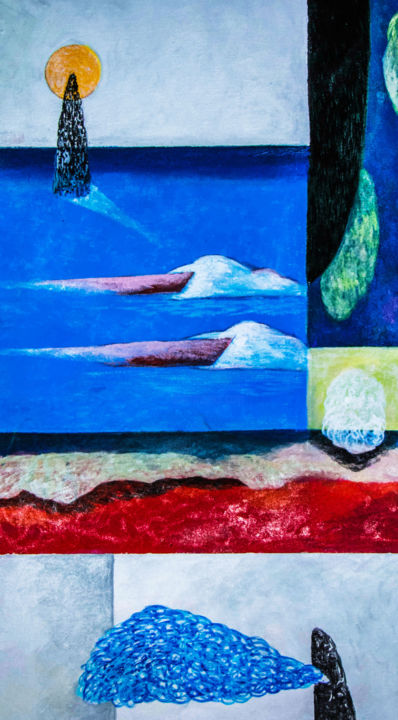 """Painting titled """"Whale Watching"""" by Anuradha Punchihewa, Original Art, Acrylic Mounted on Stretcher frame"""