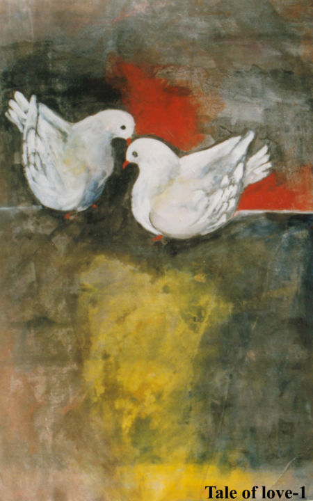 """Painting titled """"Symbol of love"""" by Tapos Mallik, Original Art,"""