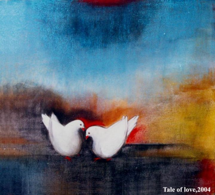"""Painting titled """"Tale of love2"""" by Tapos Mallik, Original Art,"""