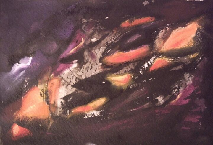 Lueurs - Painting,  13.8x20.1 in, ©2006 by ANVAL -                                                                                                                          Abstract, abstract-570