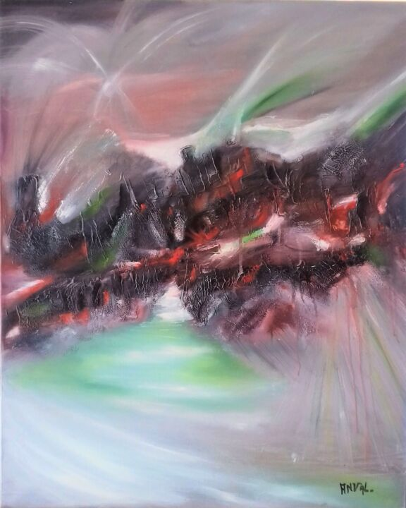 CONFRONTATION II - Painting,  31.9x25.6x0.8 in, ©2006 by Anval -                                                                                                                                                                                                                                                                                                                                                                                                                                                                                                  Abstract, abstract-570, Abstract Art, abstrait, art abstrait, abstraction lyrique, galerie, peinture, huile, anval