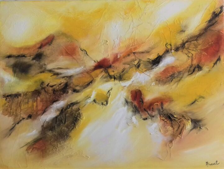 LUMIERES II - Painting,  19.7x25.6x0.8 in, ©2006 by Anval -                                                                                                                                                                                                                                                                                                                                                                                                                                                                                                                                              Abstract, abstract-570, Abstract Art, lumieres, art abstrait, jaune, peinture, galerie, anval, huile, abstraction lyrique
