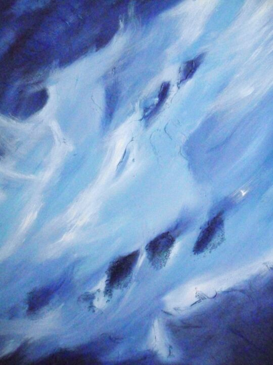 ESPERANCE - Painting,  100x81 cm ©2012 by ANVAL -                            Abstract Art, bleu, abstrait, lyrique, contemporain, abstract, imagination, paysage